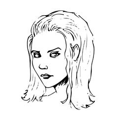 Beauty girl face sketch vector image