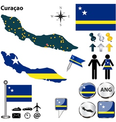 Curacao map vector image vector image