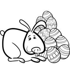 easter bunny cartoon coloring page vector image vector image