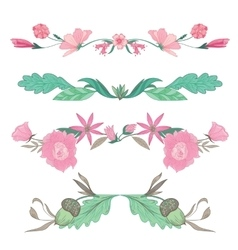 Floral Vignettes in Pale Colors vector image vector image