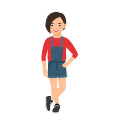 girl in a denim overalls vector image vector image
