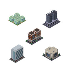 isometric construction set of company house vector image vector image
