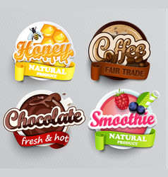 set of stickers for drinks vector image