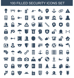 100 security icons vector