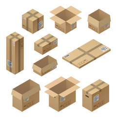 3d isometric set cardboard packaging vector image