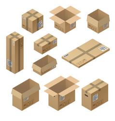 3d isometric set of cardboard packaging vector image