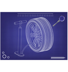 3d model of the wheel and pump on a blue vector image