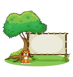 A tiger beside a rectangular signage vector image