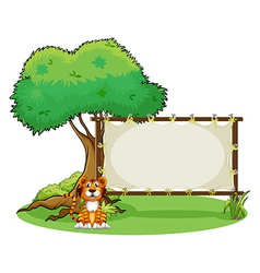 A tiger beside rectangular signage vector