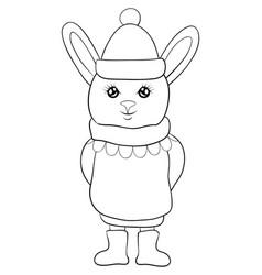 Adult coloring bookpage a cute cartoon rabbit vector
