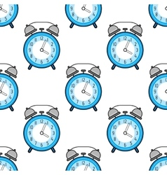 Alarm clock flat colored icon Seamless pattern vector