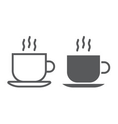 americano line and glyph icon coffee and cafe vector image