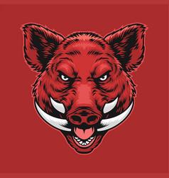 angry wild boar head vector image
