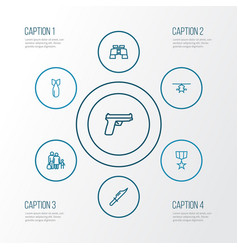 Army outline icons set collection of weapon vector