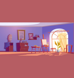 Art studio painter room with canvas and brushes vector