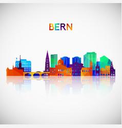 Bern skyline silhouette in colorful geometric vector