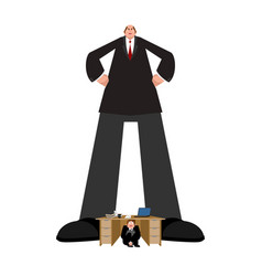 Big boss and small subordinate huge businessman vector
