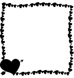 black vintage border made of hearts with arrow vector image
