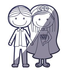 Blue color contour caricature couple in wedding vector