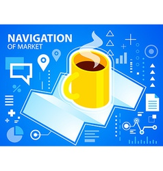 Bright navigation map and coffee on blue bac vector