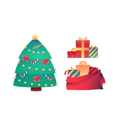 cartoon christmas tree present boxes in bag vector image
