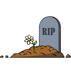 Cartoon grave with tombstone and flower vector
