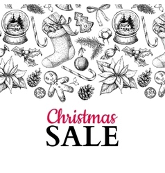 Christmas sale banner hand drawn vector image