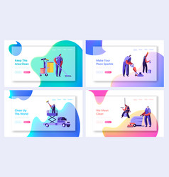 Cleaning service website landing page templates vector