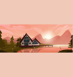 Cottage at mountain lake in forest wooden house vector