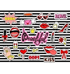 Cute fashion patch badges with lips heart ring vector image