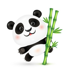 cute panda on bamboo stick vector image