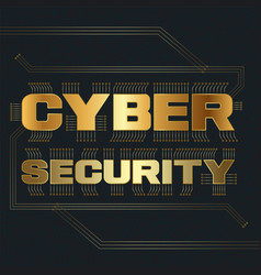 cyber security conceptual lettering with circuit vector image