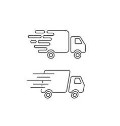 Delivery truck icon line fast shipping cargo van vector