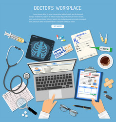 Doctors workplace and medical diagnostics concept vector