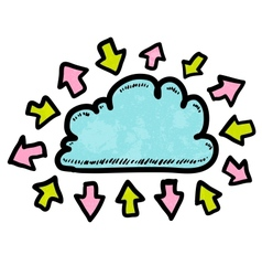 Doodle media cloud with arrows vector image