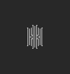 elegant initials ih or hi letters logo monogram vector image