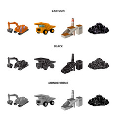 Excavator dumper processing plant minerals and vector