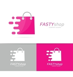 Fast package logo combination Speed bag vector