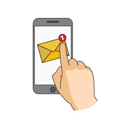 Finger touch smartphone screen with new mail vector