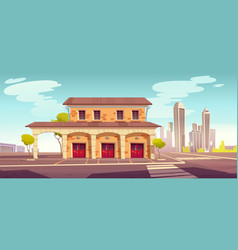 fire station building with closed red gates vector image