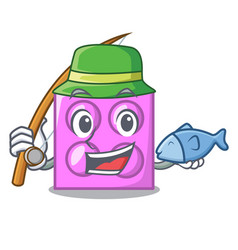 fishing toy brick mascot cartoon vector image