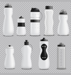 Fitness bottles realistic set transparent vector