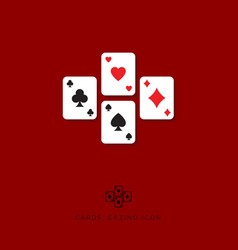 flat icon card game casino icon vector image