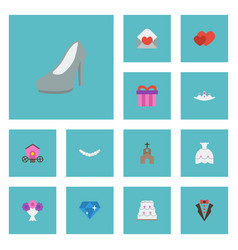 Flat icons brilliant present patisserie and vector