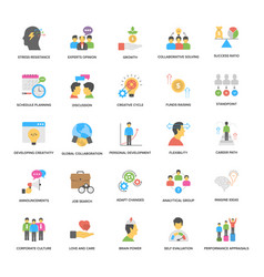 Flat icons pack of success and opportunitie vector