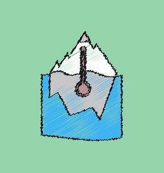 Flat shading style icon iceberg and thermometer vector