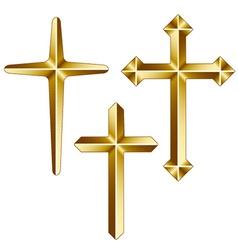 Golden christian crosses vector