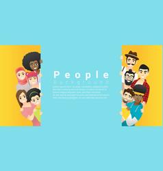 group happy people standing behind empty board vector image