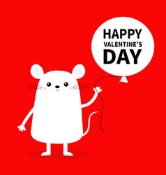 Happy valentines day white mouse waving hand vector