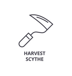 harvest scythe line icon outline sign linear vector image